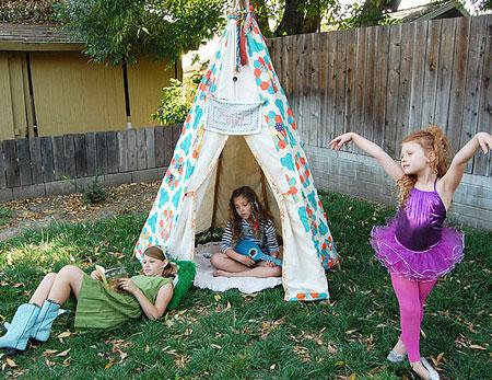 kids teepee backyard